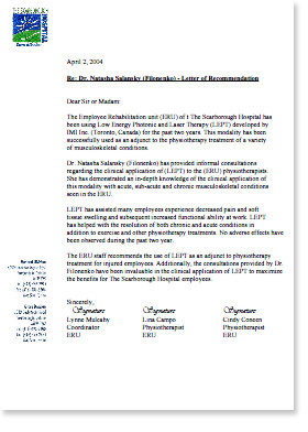 Author of therapeutic laser system LEP2000. Letter of Recommendation